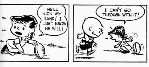 Charlie Brown and Violet pulls football away-2 panel a